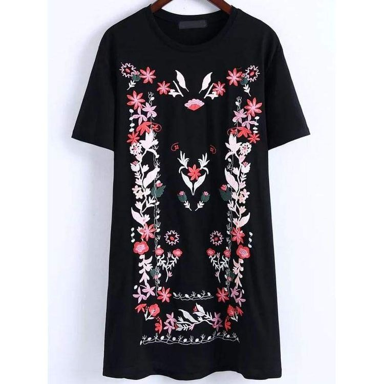 c681fdcc980 Black Floral Embroidery T-shirt Dress