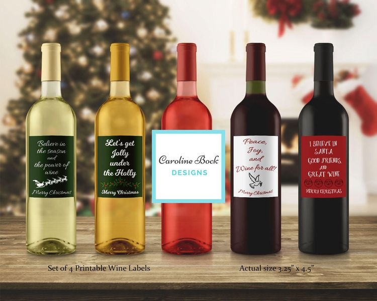 Set Of 4 Funny Christmas Wine Labels White Elephant Wine