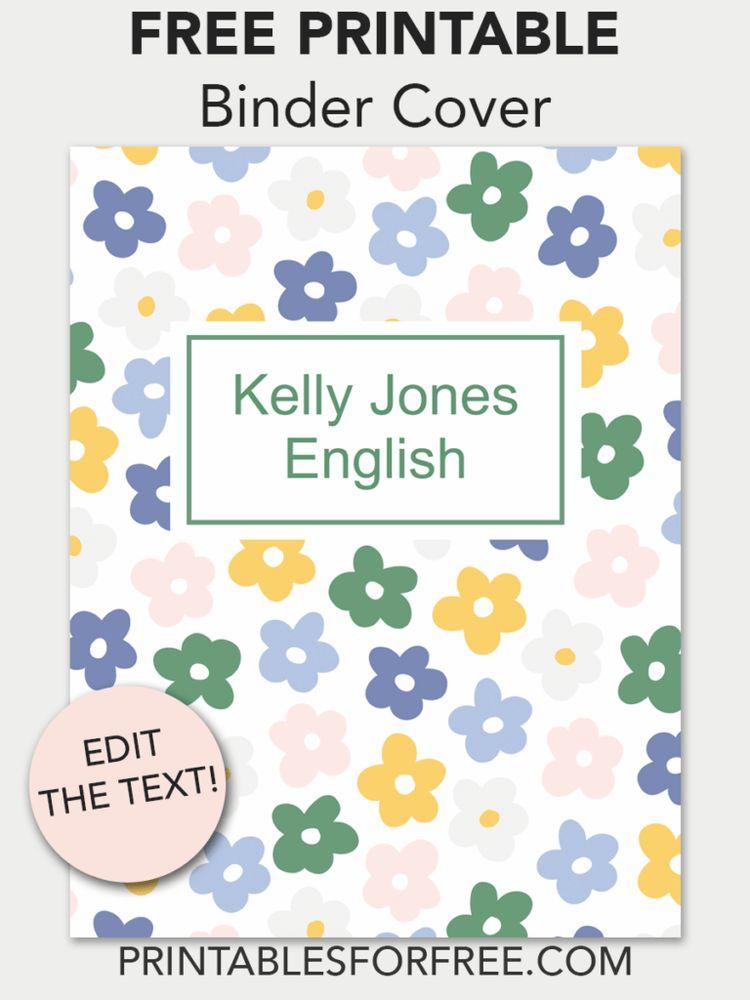 floral printable binder cover