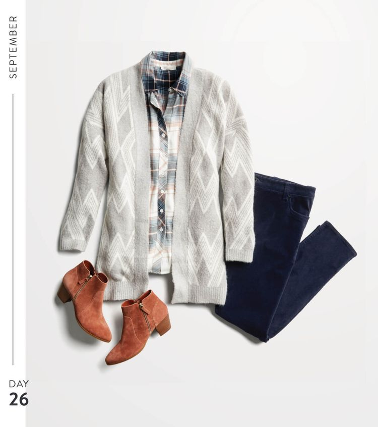 Love the soft gray chevron-patterned cardigan paired with the plaid shirt & dark wash jeans. Also like the pop of color & style of the russet boots