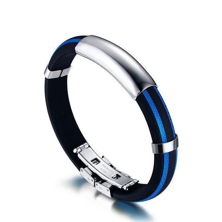 Fashion Stainless Steel Rubber Silicone Men Cuff Bangle Br