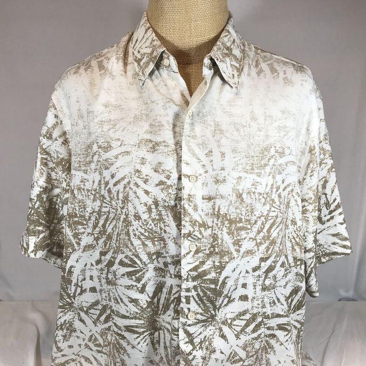 568caae5 Tasso Elba Island Silk Linen Hawaiian Aloha Camp Shirt Leaves Tan Fade XXL  #TassoElba #