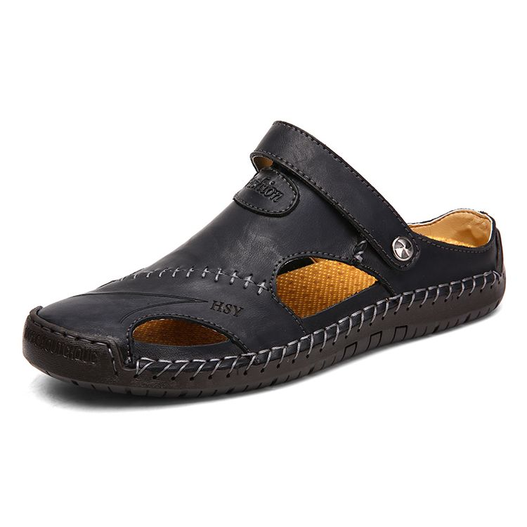 Men Hand Stitching Closed Toe Comfy Soft Leather Sandals | Calceus | United States