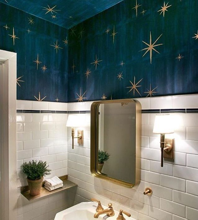 Life-changing half bathroom paint color ideas // stars wallpaper for bathroom  #bathroomcolors #bathroom #wallpainting #bathroomideas #bathroomdecor #bathroomremodel