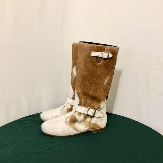 228117cc23a97 Sz 8 Vintage Mid Calf Brown And White Genuine Leather 1990s