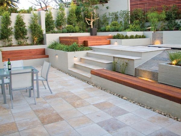 Outdoor Natural Stone Floor Tile Travertine Tile Patio Concrete Seat Banke  Timber Support