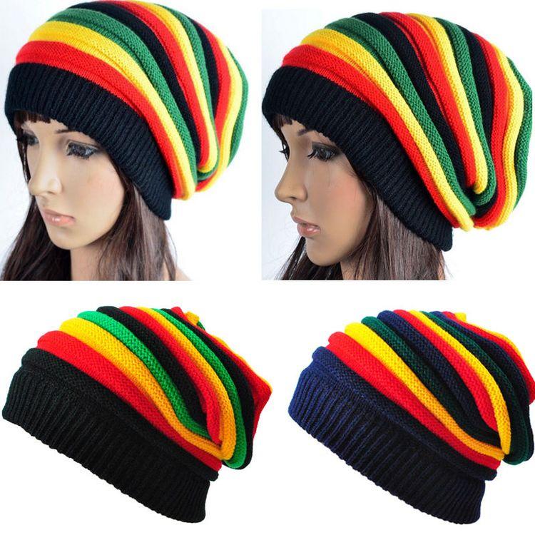 fbb77557146 Beanie Knit Slouch Baggy Rasta Cap Men Women Stripe Jamaican Rasta Crochet  Hat