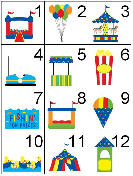 photograph relating to Cake Walk Numbers Printable called Child Sport - Carnival/Circus Them
