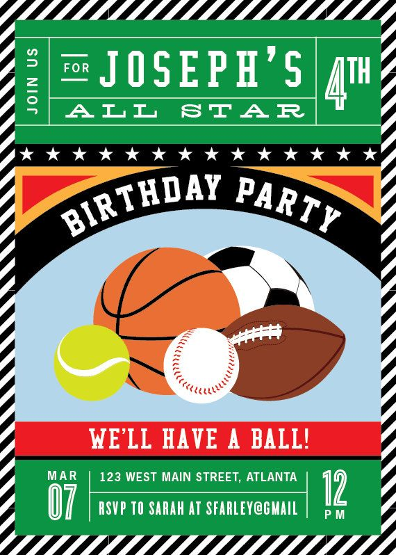 sports birthday invitation all star sport invitations so