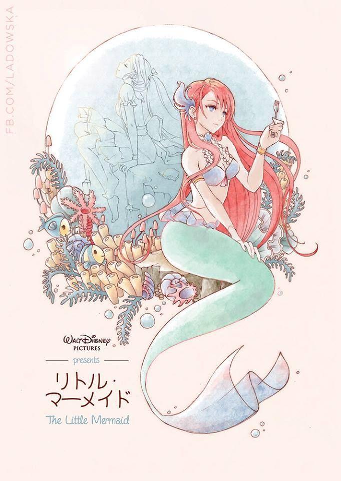 Tatuagem Disney - Ladowska - se personagens da Disney estivessem em anime.  A pequena sereia - TattooViral.com |  Sua fonte do número um para projetos diários do Tattoo, idéias & inspiração