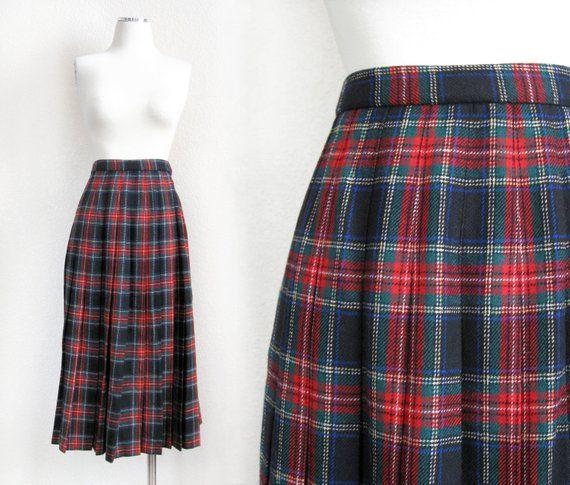 3d9feb39e5 Vintage 70s 80s Red Plaid Pleated Skirt - Size 4 - Pendleton Wool Black  Stewart Scottish Tartan Women's Midi Skirt - Christmas Holiday Wear