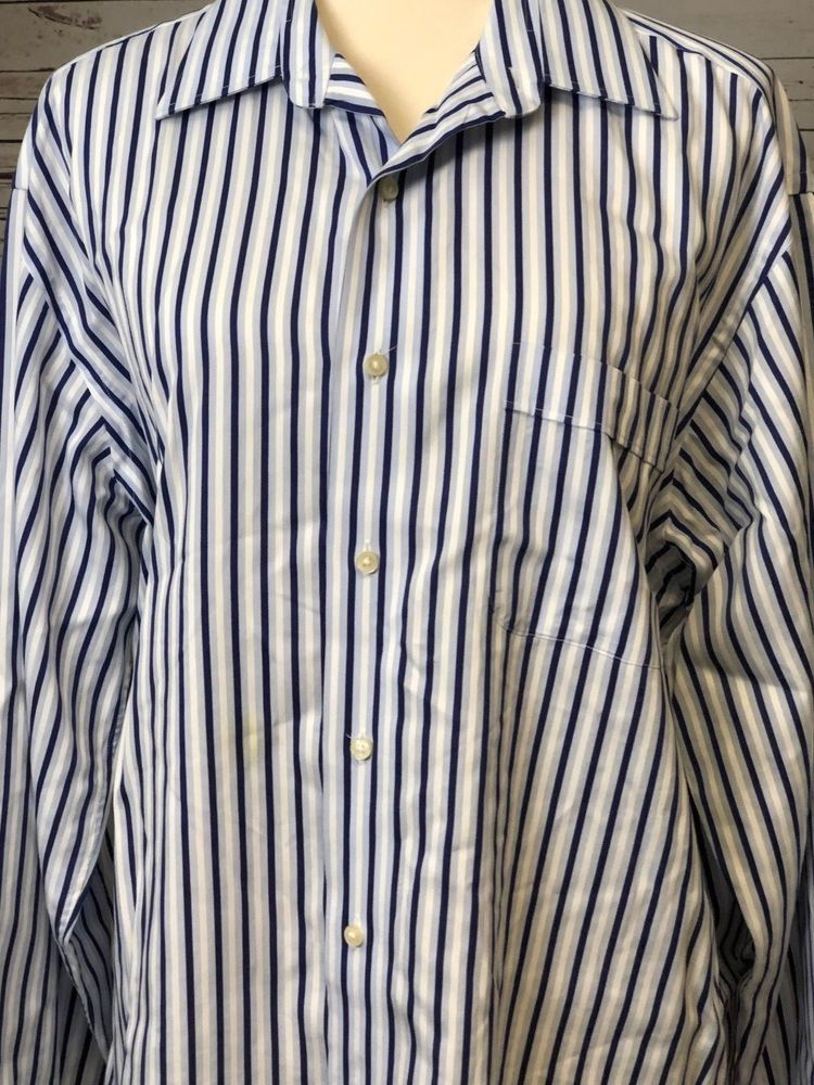 665c2338 Tommy Bahama Mens Striped long sleeve button front shirt size 16.5 34 / 35  Blue