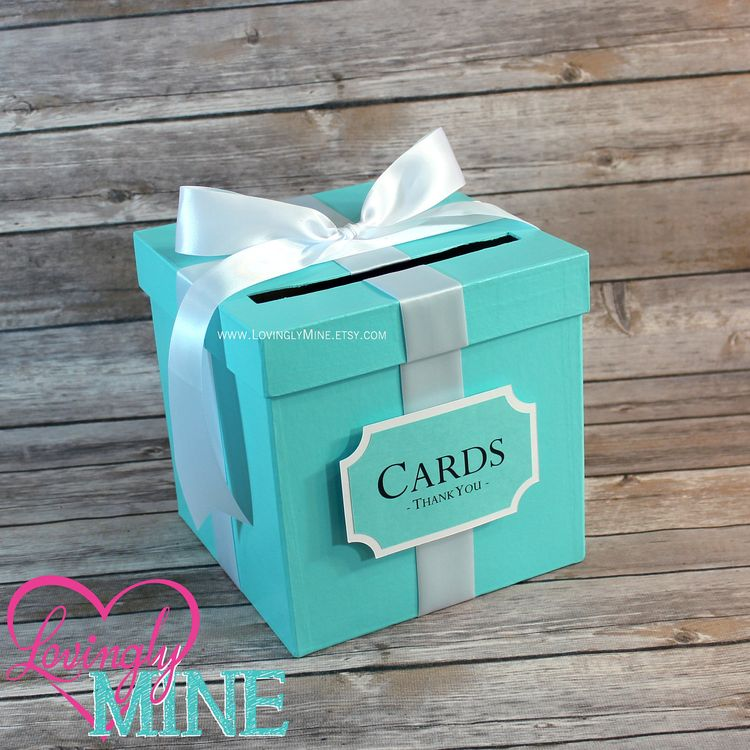 card box with sign light teal white gift money box for any event wedding bridal shower birthday baby shower graduation