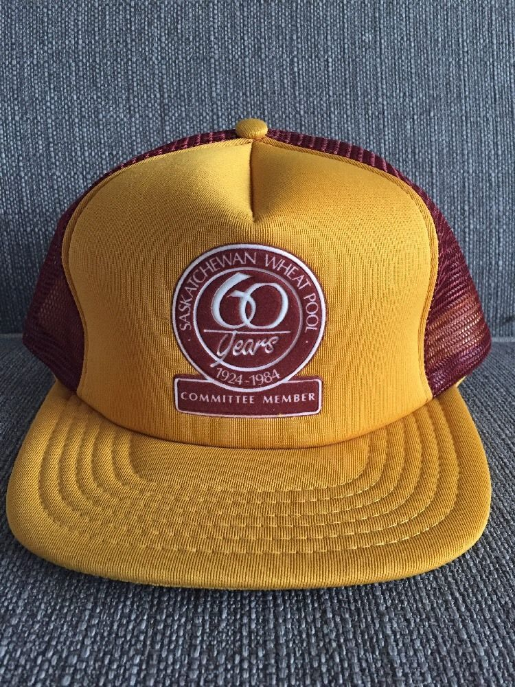 efaf576eed953 Vtg Saskatchewan Wheat Pool 1984 Trucker Hat Snap Back Mesh 80 s Farm  Farming SK