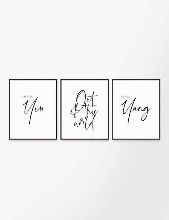 Soulmate Love Set Of 3 Printable Wall Art Quotes Yin And