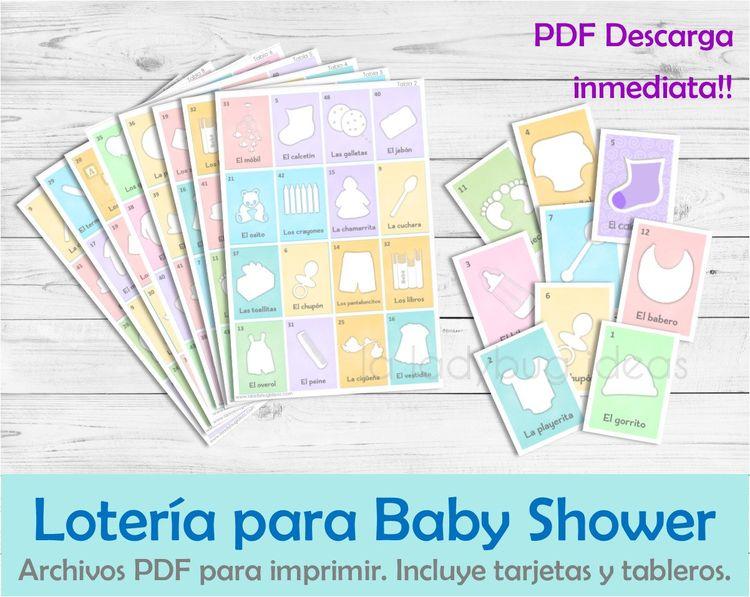 Loteria Para Baby Shower En Espanol Juego Para Baby Shower