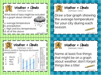 Ngss Science Task Cards Weather Climate 24 Cards 3rd
