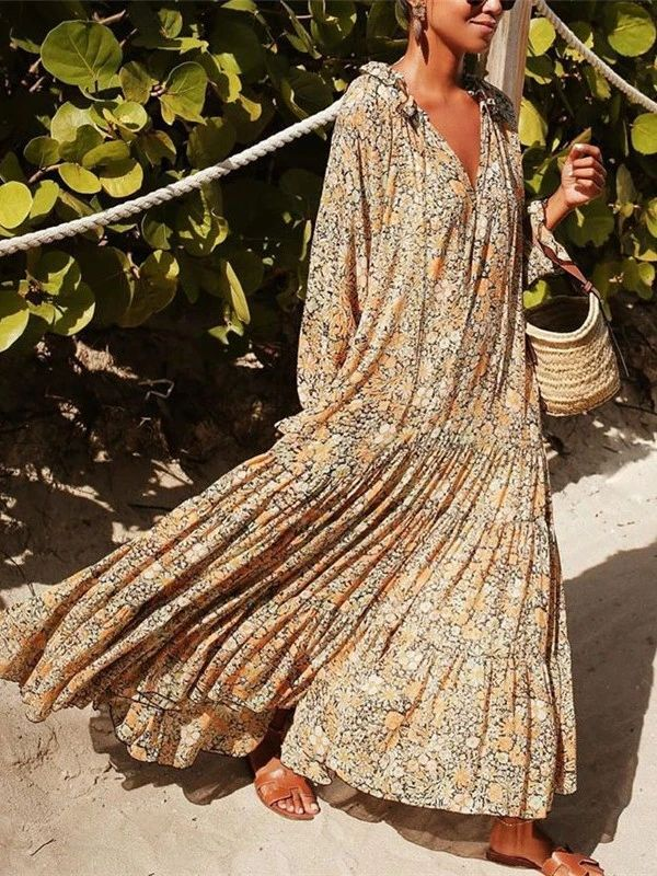 V-neck Print Casual Boho Maxi Dress – stylepopa
