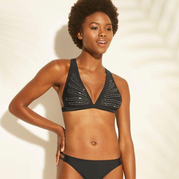 3b454fb7640ec Women's Beaded Triangle Bikini Top - Xhilaration Black M