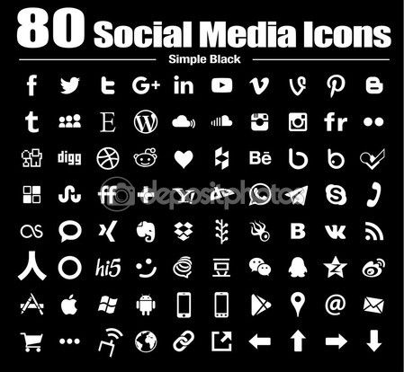80 flat social media icons - new G+ Vector, Back and white