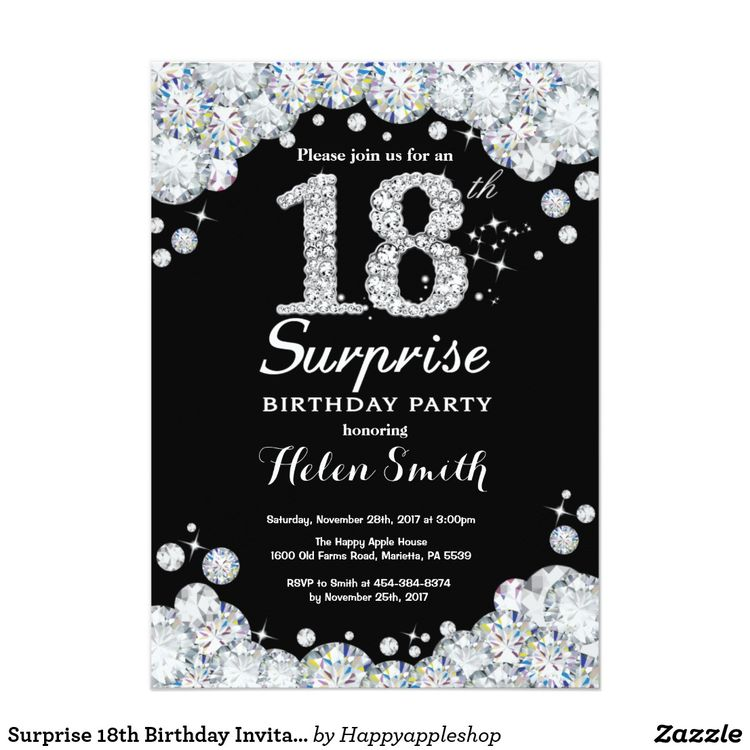 Surprise 18th Birthday Invitation Silver Diamond