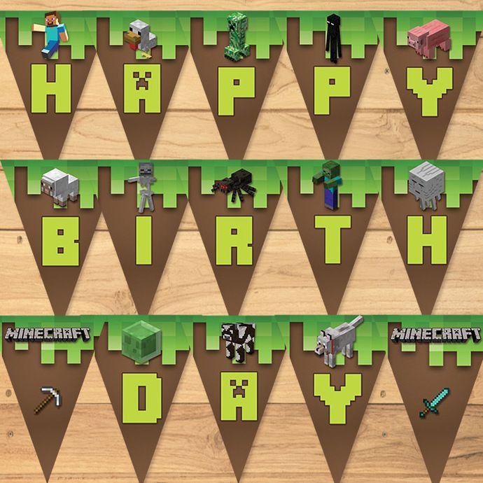 Minecraft Birthday Banner Green Blocks Minecraft Happy B