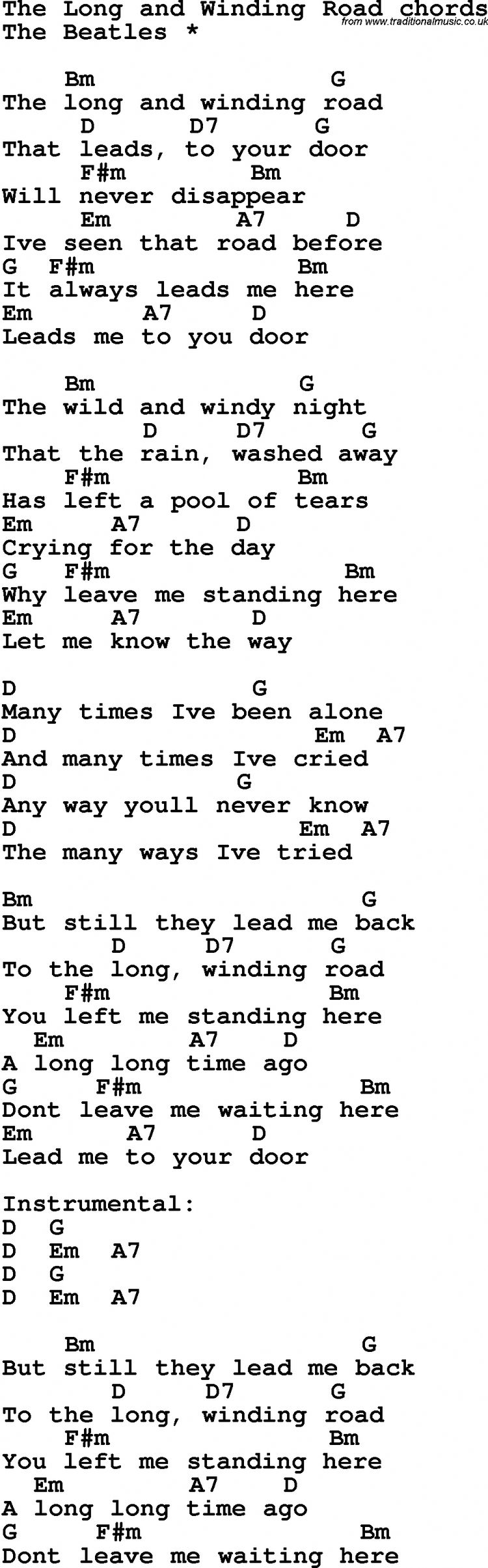 Song Lyrics With Guitar Chords For The Long And Winding Ro
