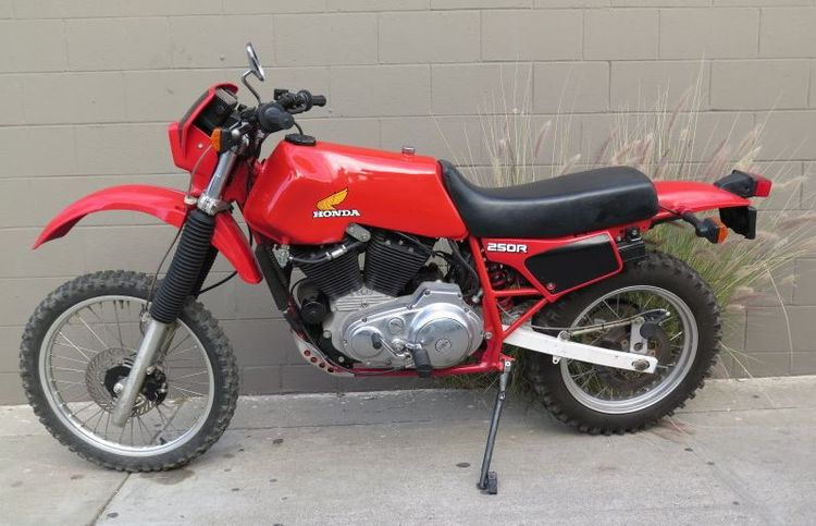 """It's a hybrid of """"XL"""" bikes – the engine from a Harley-Davidson XL883 shoved into a (modified) frame from a Honda XL250R. Madness!"""