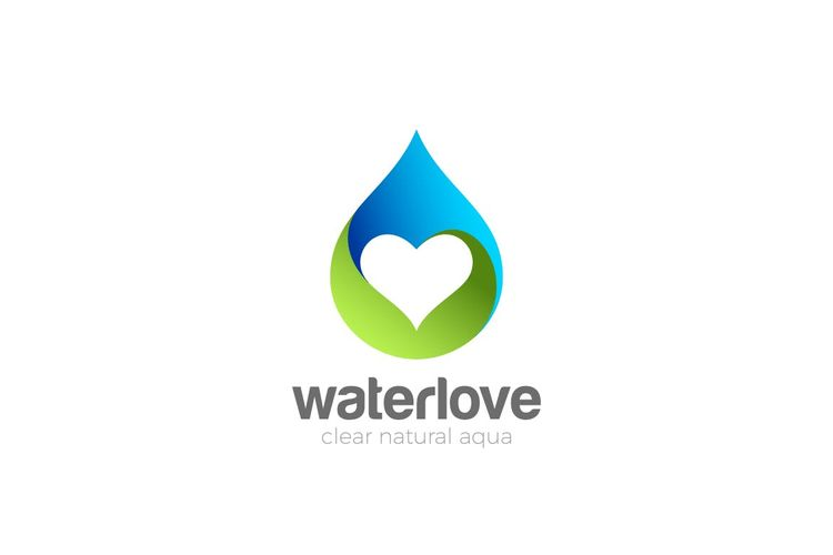 Water Droplet With Heart Inside Logo Template AI EPS