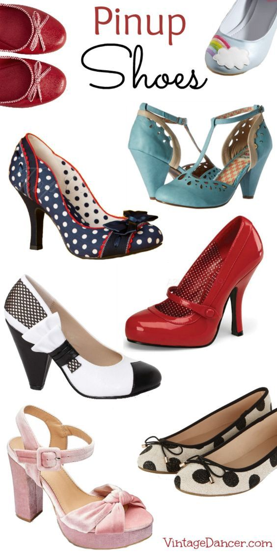 Pinup Shoes! Retro Vintage style pinups heels, flats, wedges, platforms, and polka dots