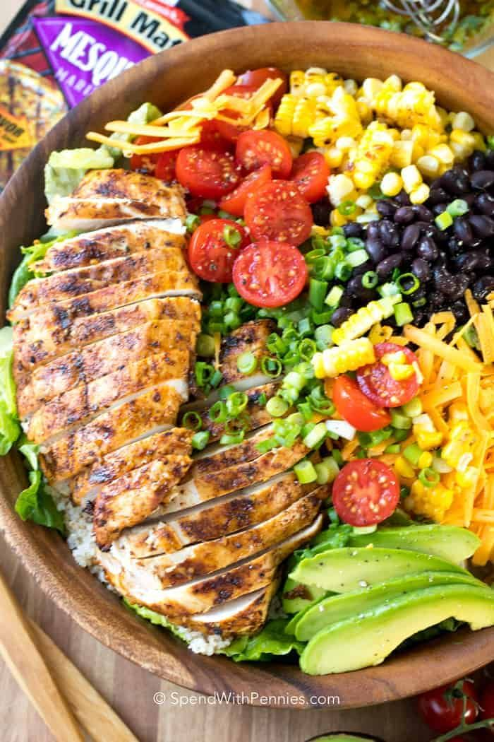 Southwest Salad is packed with our favorite flavors. Perfectly seasoned grilled chicken, corn, avocado, beans, and romaine lettuce in a lime vinaigrette.