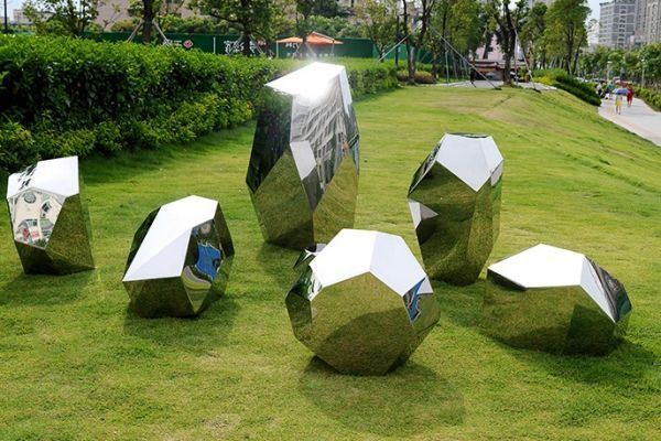 Stainless Steel #sculpture by #sculptor Paul Wesson titled: 'Another Space#3 (stainless Steel Cristaline sculpture)'. #PaulWesson