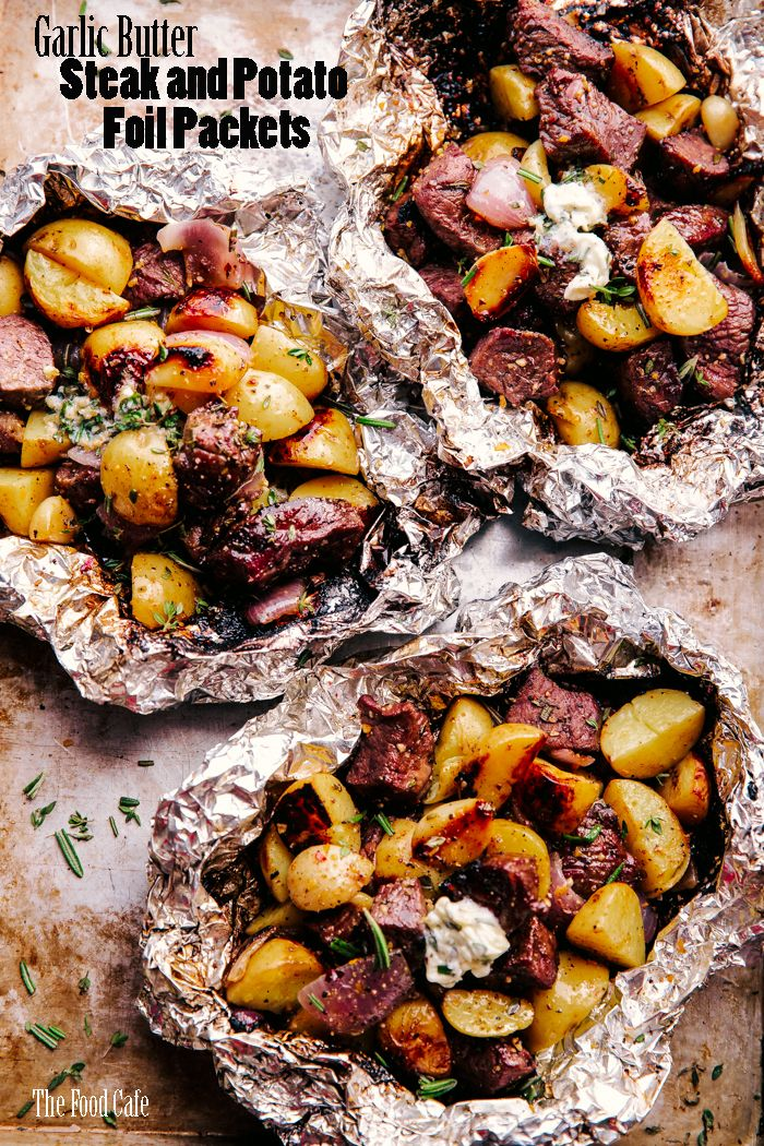 Garlic Butter Steak and Potato Foil Packets | The Food Cafe | just say yum