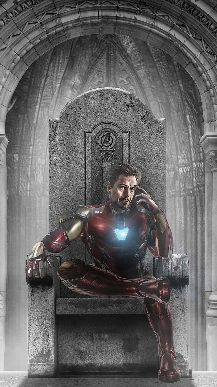 Iron Man Throne Stone Chair IPhone Wallpaper