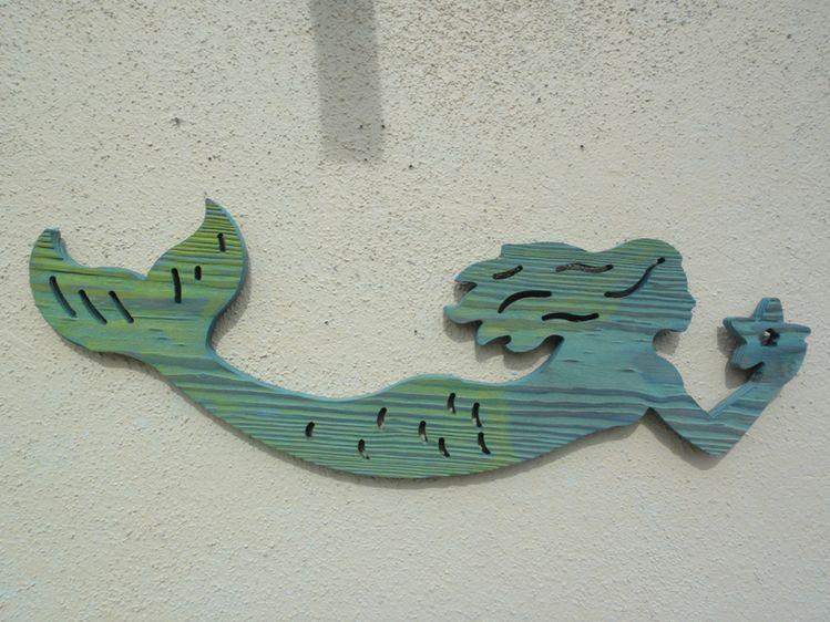 Routed Wood Mermaid Wall Hanging Fish Art Home Bars Bar Signs