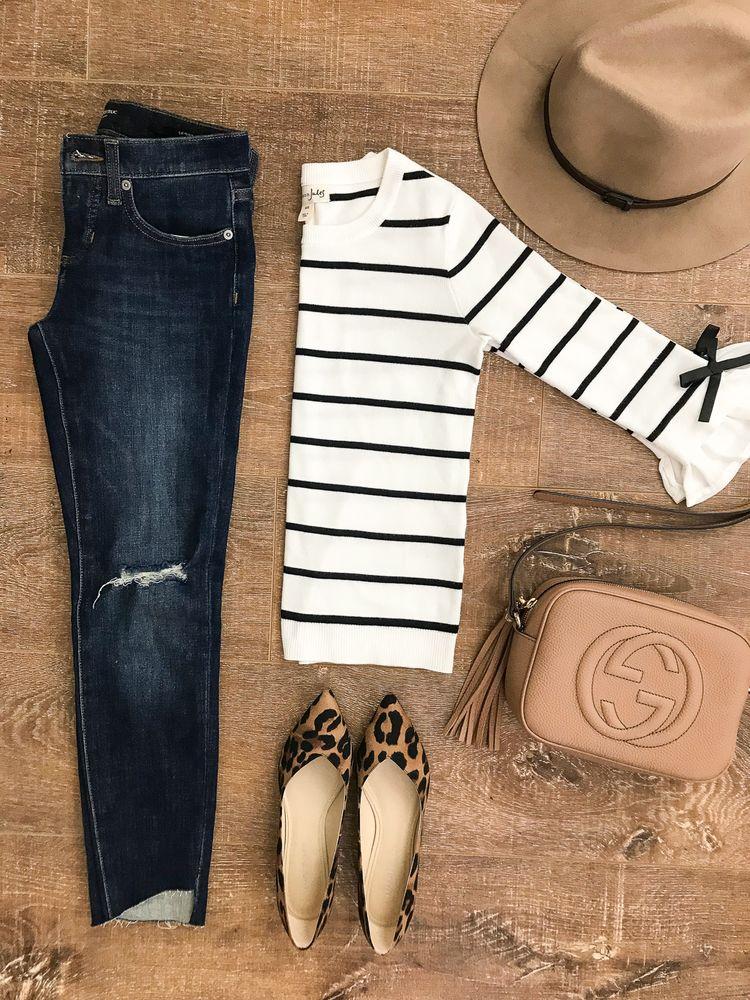 striped bow sleeve sweater leopard flats step hem jeans gucci soho disco bag