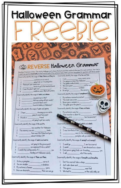 Free Reverse Halloween Grammar Worksheet