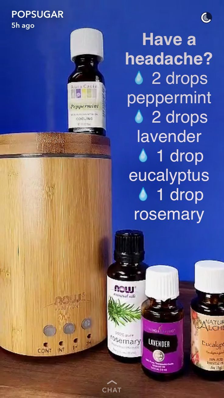 Essential Oil Diffuser Blend for headaches, common complain