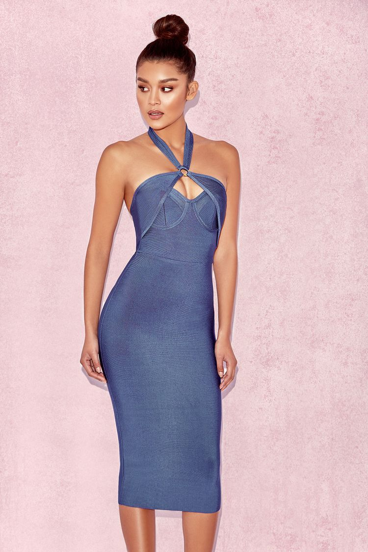 a0822f697a378 Clothing   Bandage Dresses    Saffi  Blue Cut Out Bandage Dress