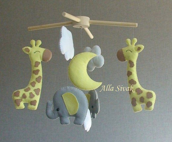 Elephant Mobile For Safari Nursery Giraffe Yellow Elephants And Cloud Mo