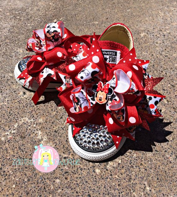 fae55b71b22204 Minnie Mouse Blinged Out Converse Shoes with by ZallistasBowtique