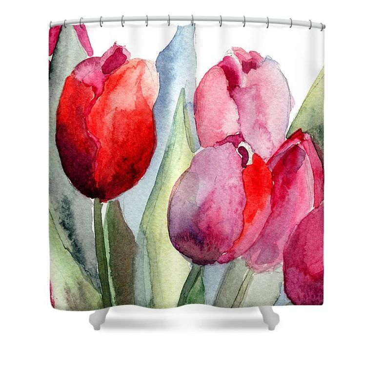 """Tulips Flowers Shower Curtain by Regina Jershova.  This shower curtain is made from 100% polyester fabric and includes 12 holes at the top of the curtain for simple hanging.  The total dimensions of the shower curtain are 71"""" wide x 74"""" tall."""