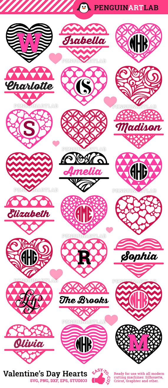 Valentine S Day Hearts Monogram Svg Frames Love Cut File