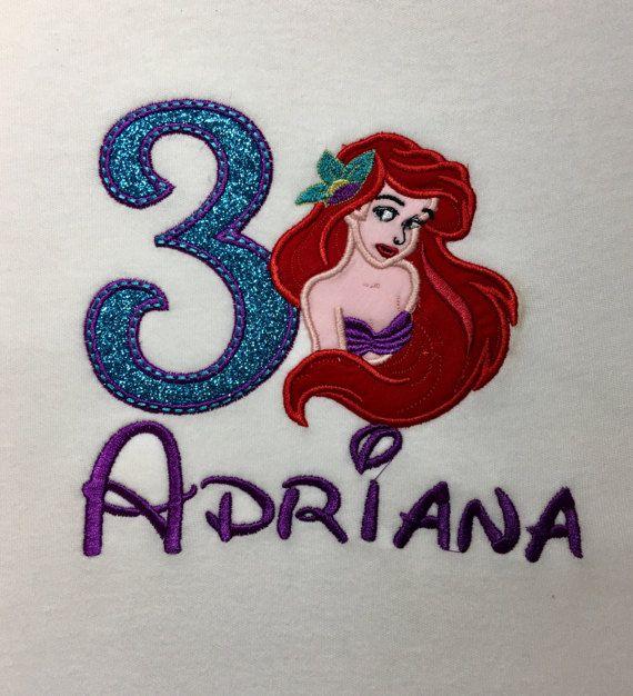 Little Mermaid Birthday Shirt Girls ShirtPrincess Ariel Personalized A Prissy Stitch