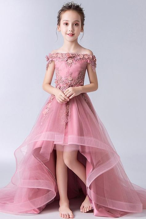 Gorgeous Off the Shoulder With Lace Appliques Sleeveless High Low Tulle Flower Girl Dresses F91