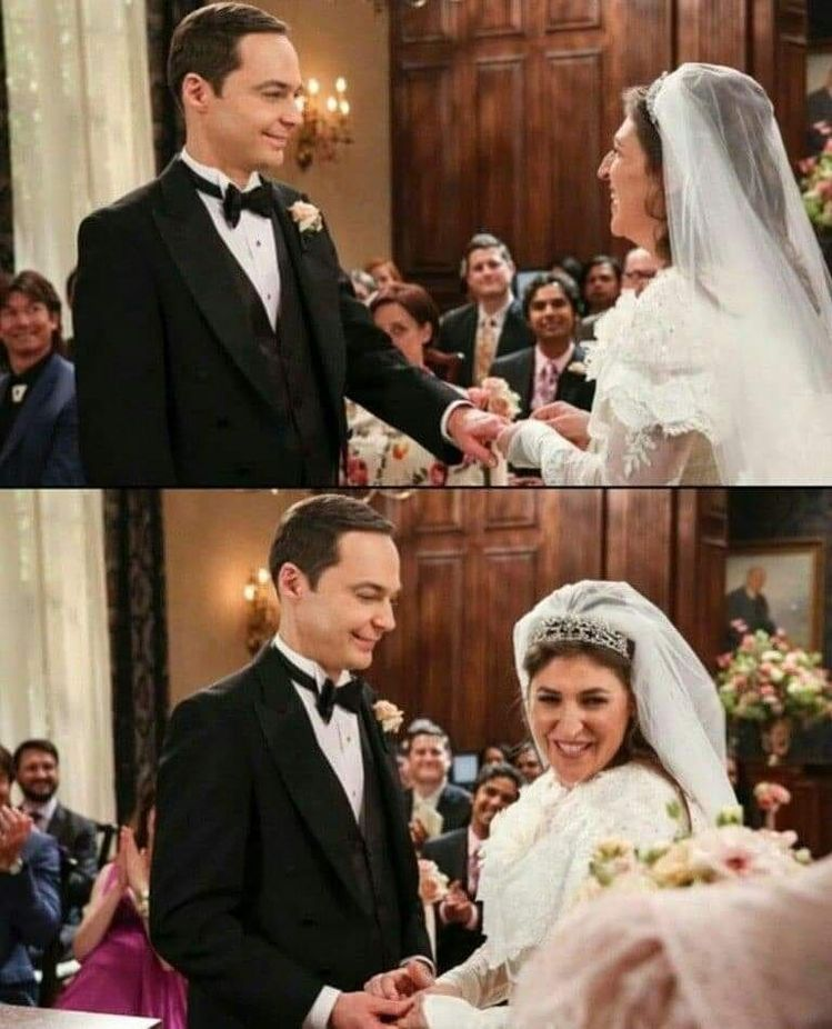"#JimParsons on Instagram: ""Sheldon and Amy get married ❤ Do you like that beatuful couple ? @therealjimparsons @missmayim #tbbt #thebigbangtheroy #bbt…"""