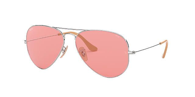e595afd395f9 RAY-BAN Silver Shiny RB3025 58 ORIGINAL AVIATOR Pink polarized lenses 58mm