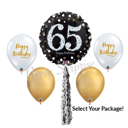 65th Birthday Balloon Package Happy Balloons Diamond Clear Gold Black Select Your