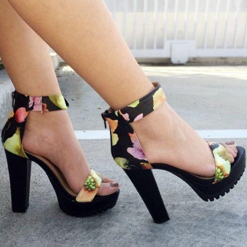 Floral Ankle Strap Platform Heels