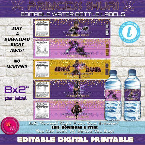831580dd91 Editable Princess Shuri Water Bottle Labels, Shuri Black Panther Water  Bottle Wrappers, Shuri Party Supplies, Edit with Templett